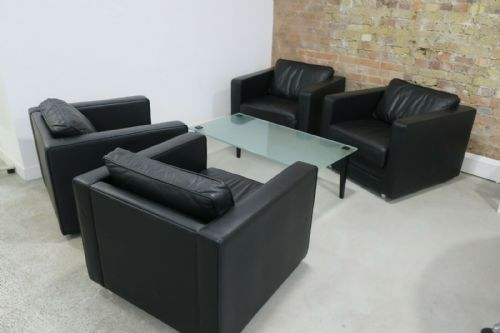 4 x David Highley Black Leather Box Arm Chair & Frosted Glass Coffee Table